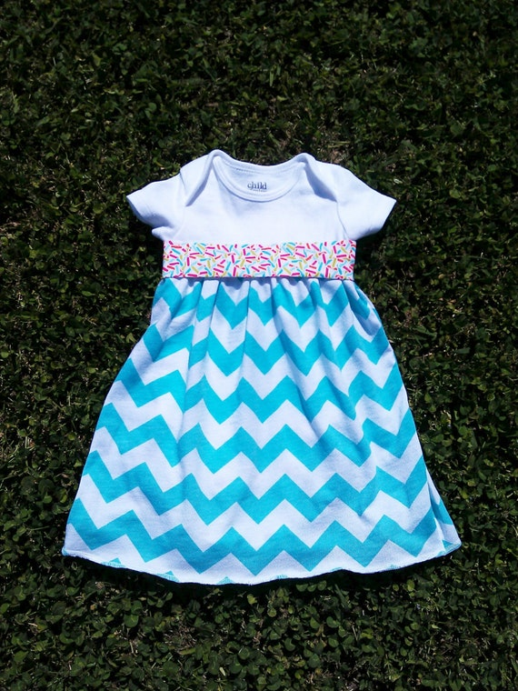 Tiffany blue chevron baby girl dress size 0 to 3 by shellyodesigns