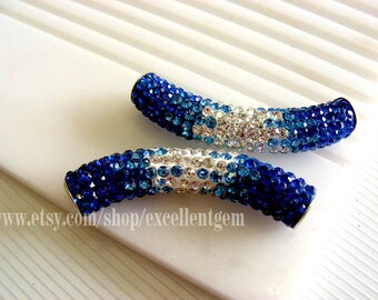 4p- Rhinestone connector Artistic patterns with Blue/ clear CZECH Crystal rhinestone sideway tube bracelet connector