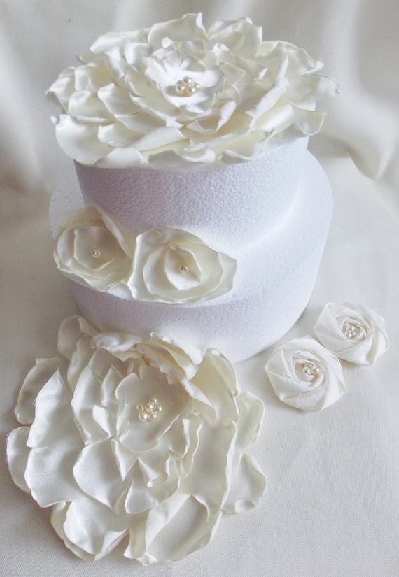 Cake Topper, Cake Flower, Wedding Cake Flowers, Cake Decoration, Wedding Flowers, Satin Flower, Peony Flower, Singed Flower, Ivory Flower