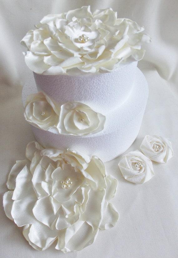 Cake Topper, satin flower, ivory peony