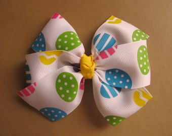 SALE---Easter Eggs Large  Pinwheel Bow