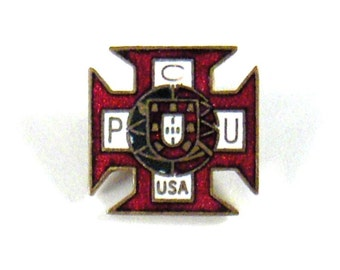 Vintage Enameled Pin PCU USA Organization ~ Red White and Black ~ epsteam vestiesteam thebestvintage