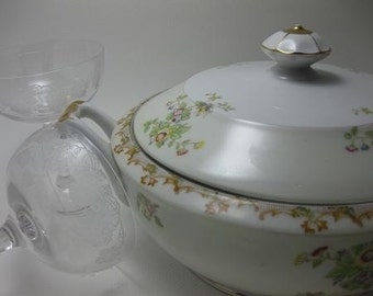 Vintage Brentwood Floral China Round Covered Serving Bowl