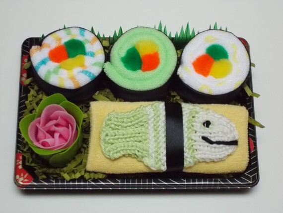 Baby Sushi Gift Set - Unique Baby Shower Gift - Green Fish Bath Scrubby