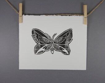 Butterfly Linocut Art Print  8 x 10 Printmaking linoprint