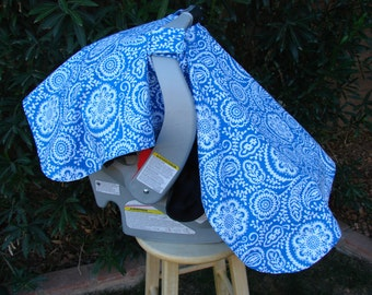 Baby Car Seat Canopy - Baby Car Seat Cover - Blue Canopy - White Canopy - Baby Shower Gift - Ready to Ship Canopy - Baby Christmas Gift