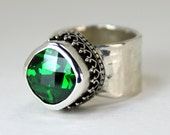 Emerald Green Ring - Sterling Silver Gemstone Ring - Statement Ring - CZ Ring - Cushion Cut Gem - Spring Ring - May Birthstone