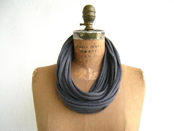 "Recycled T Shirt Necklace / Charcoal Gray / Long Short / 27"" Long / 68 cm / Fashion / Women / Scarf Necklace / Cotton / Soft / ohzie"