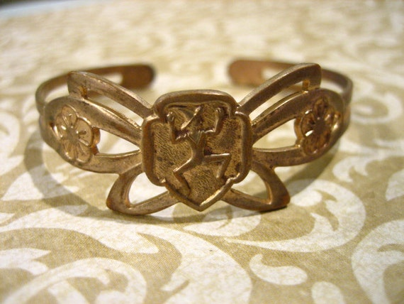 Vintage Girl Scout Brownie Butterfly Cuff Bracelet 50s