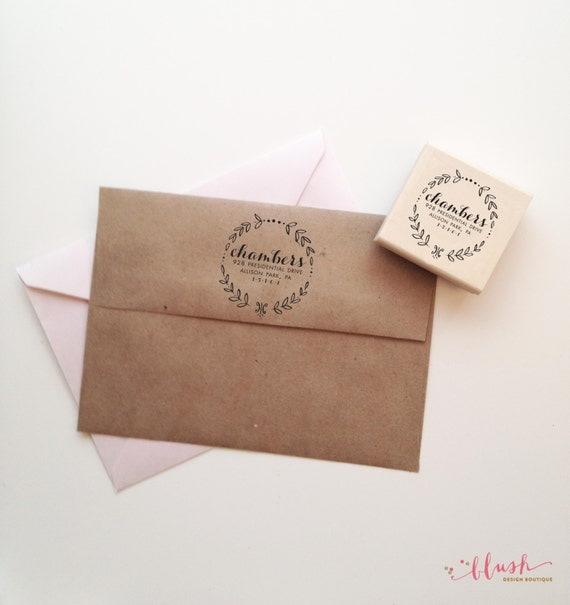 Address Wedding Gift Card Envelope : Floral Return address stamp Vintage Return by blushprintables