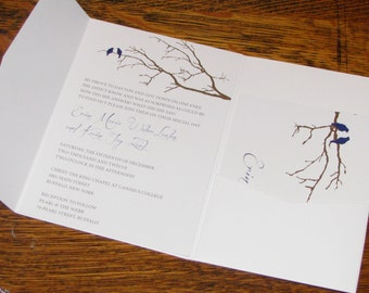 Birds and Branches Pocket Wedding Invitation, Cobalt Blue and Chocolate
