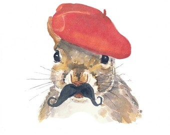 Squirrel Watercolour Painting PRINT, French Squirrel, Mustache, Red Beret, 8x10 Print