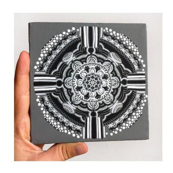 Original Acrylic Painting on 5 x 5 Canvas of Gray Compass Mandala - Black White Modern Art