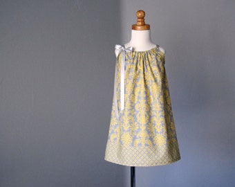 LAST ONE! Girls Grey and Yellow Pillowcase Dress - Grey & Yellow Damask Sun Dress - Girls Sun Dress - Size 12m, 18m, 2T, 3T, 4T, 5 or 6