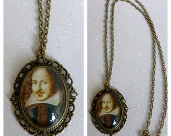 William Shakespeare Inspired Bronze Cameo Necklace
