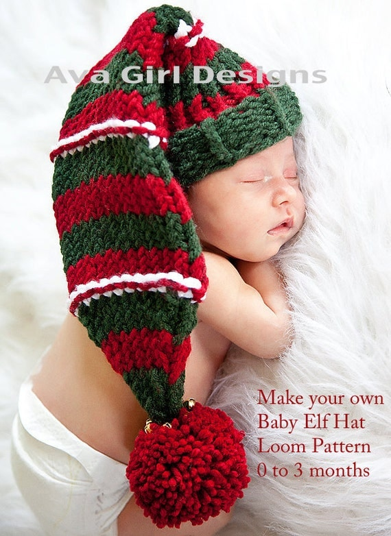 Knitting Patterns For Baby Elf Hats : Items similar to Knitted baby hat pattern Christmas elf hat 0 to 3 months loo...