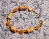 Peach Moonstone and Paperbead Bracelet