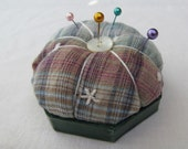 Green, blue and burgundy plaid pin cushion or pin keeper