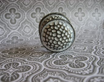 2 Hammered Knobs and Backplates Round Brass Textured Two Piece Custom Color Your Choice B-11