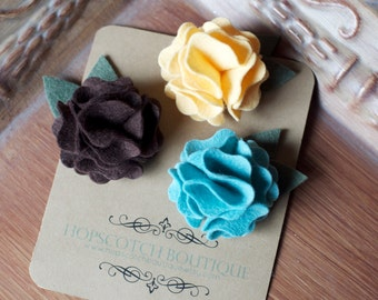 New Anika Trio Felt Flower Clips Teal, Yellow and Brown