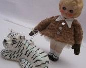 Kewpie doll figurine statue and her pet tiger, OOAK
