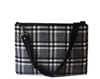 13 inch Macbook or Laptop bag with detachable shoulder strap and 2 interior pocket-Black & white- Ready to ship