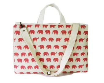 """15"""" Macbook or Laptop bag with handles and detachable shoulder strap- elephant in pink -Ready to ship"""