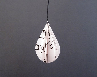 Ornament drop pendant made of paper minimal home decor upcycling by renna deluxe