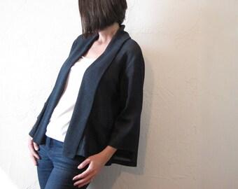 Swing Jacket - Indigo Linen Stretch Gauze with Pockets