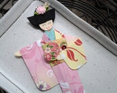 1pc - Origami Japanese Geisha Bookmark Lemon Pink Floral Kimono
