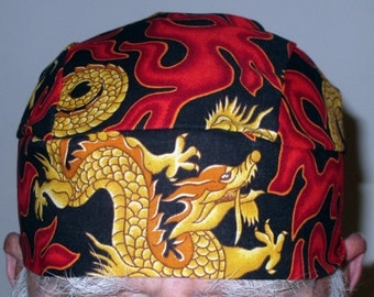 Handmade Black Skull or Chemo Cap with Gold Dragons and Red Flames, Hats, Head Wrap, China Town, Men, Women, Biker, Do Rag, Hair Loss, Bald