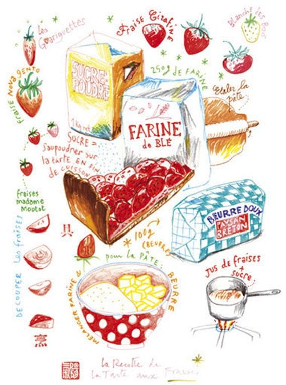 La tarte aux fraises Recette illustree Dessin au par ...