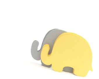 24 Elephant Die Cuts,  yellow and Grey, (3.5 x 2.5 inches), Textured Cardstock, baby shower die cuts, animal shape silhouette, die cut, A195