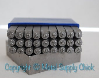Metal Stamp Set-3mm or 1/8 inch Dotz Font Lowercase -Alphabet Stamps-Metal Alphabet Set for Metal Stamping-Lucy Style