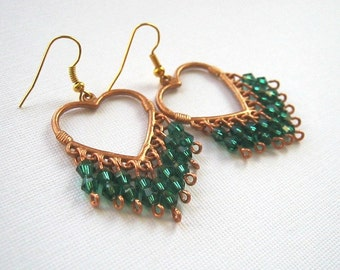 Copper Heart Emeral Green Crystal Chandelier Earrings Green Chandelier Earrings