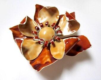 "Enameled Flower Brooch Brown Flower Vintage Pin Shabby Chic Boho 2 1/2"""