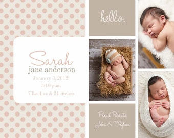 Photo Birth Announcement polka dot BOY GIRL PHOTO
