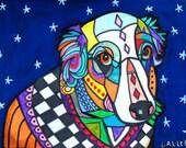 Australian Shepherd Art - art dog  Art Print Poster by Heather Galler - Modern Abstract Blue Dog (HG146)