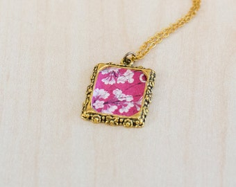 Cherry Blossom - vintage postage-stamp charm necklace
