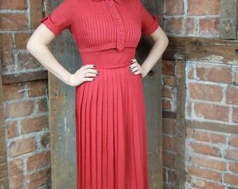 1960s Red Dress/ School Girl Dress/ Pleated Knit Dress/ Rhinestone button bodice/ 852