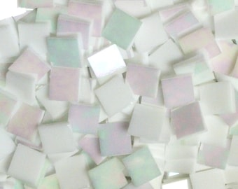 "100 1/2"" White Pearl Iridized Stained Glass Mosaic Tiles"