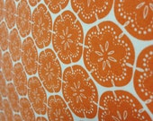 Flower Maze - hand screen printed fabric in Tangerine dream