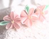 Pink ume with green leaves silk kanzashi headband