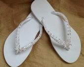 Bridal Flip Flops -  In White With Tropical Starfish  Perfect For Your  Destination Beach Wedding