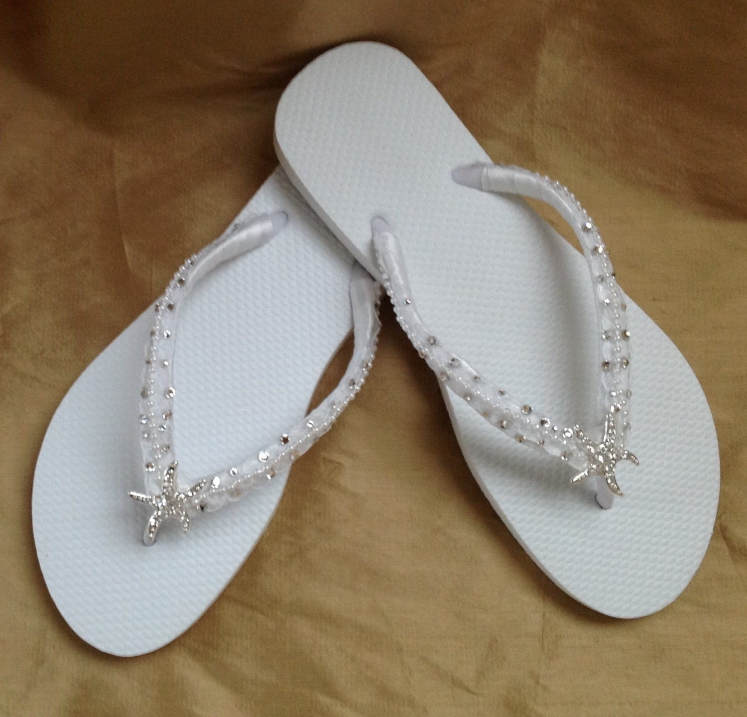 bridal flip flops in white with tropical starfish perfect