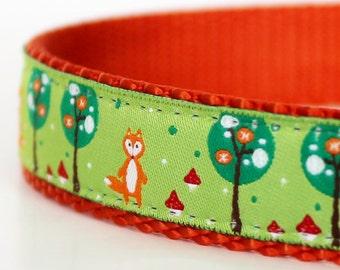 Fox in Pear Trees Dog Collar, Adjustable, European Ribbon