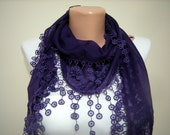 Purple Scarf, Tassel Scarf, Lace Scarf, Orange Shawl, Cotton Scarf, Cowl Scarf