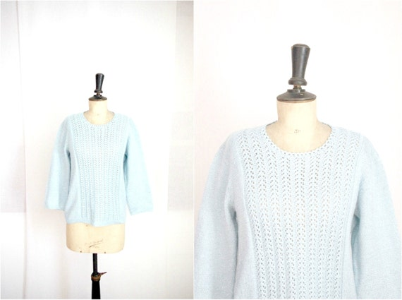 Sweater Knit Light Blue and Silver Vintage 1960s