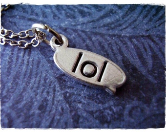 Silver LOL Necklace - Antique Pewter LOL Charm on a Delicate Silver Plated Cable Chain or Charm Only