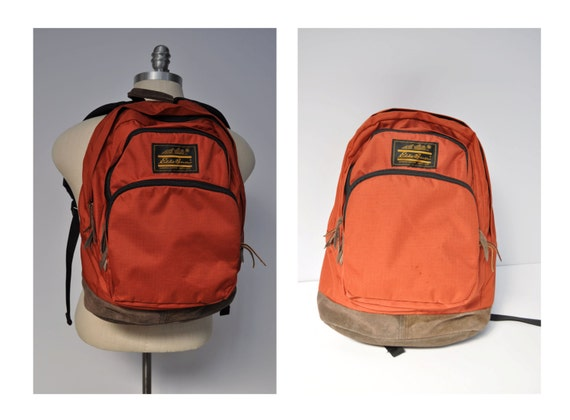 Vintage Backpack With Leather Bottom Eddie Bauer Carry On